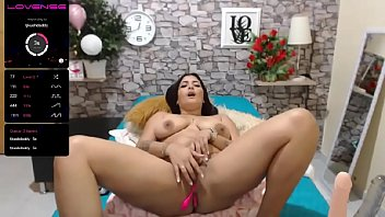 Big tits Columbian babe plays with ass and dildo