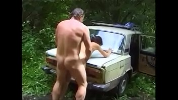 Vintage car audio Russian couple is fucked by car in the woods