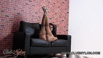 Brunette pussy tease in lingerie nylons