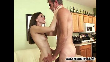 Young amateur girlfriend sucks and fucks an old guy