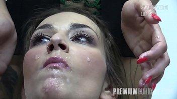 Premium Bukkake - Alma swallows 64 huge mouthful cum loads