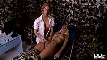 Sexy military nurse Erica Fontes licks sexy soldier Jessie Volt's pussy