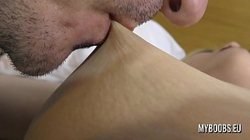 Sucking and lick nipples Aqua Pola from soft to make him hard