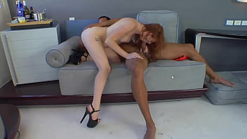 Latin cock and red pussy, black and white