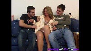 Russian milf gangbang Threesome with russian hooker