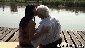 Teen sucks wrinkled grandpas old dick