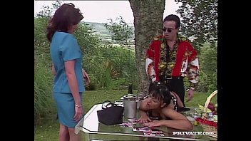 Vintage asian womens clothing Carmen enjoys sex in the garden