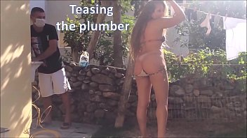 Teasing the plumber - slut wife and husband cuckold real amateurs