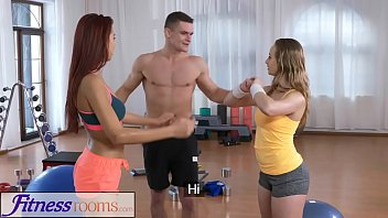 Fitness lady nude - Fitness rooms naughty young girls cock hungry threesome with gym hunk