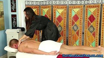 Buxom masseuse tit fucks