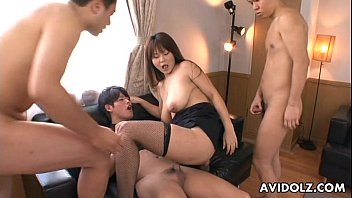Asian slut in fishnets has a foursome fuck thumbnail