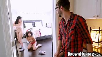 Brown bunnies Misty Stone and Aaliyah Hadid fucked hard