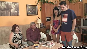 Innocent girl is seduced by her boyfriend's mom and fucked by old daddy
