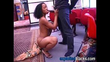 African sloppy blowjob ends with cumshot
