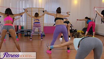 Ill3gal porn top Fitness rooms young sweaty gym girls have lesbian threesome after workout