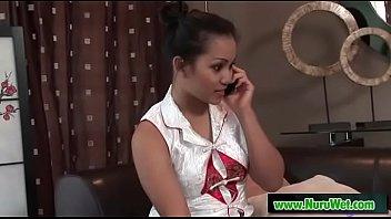 Asian Lana Violet gives handjob shower