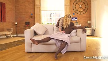Interracial banger Amber Jayne sucks &amp_ rides her friend'_s huge black dick