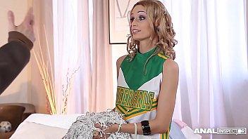 Anal addict Erica Fontes gets DP'ed in Cheerleader costume