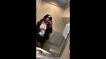 Flight attendant uses in-flight wifi to cam on camsoda!