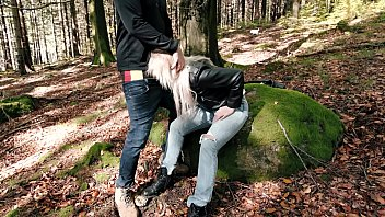 Fuck in the forest with hot chick in Levis Jeans and Leather Jcket