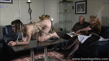 Mature rope bondage Alternative fetish model violettes lesbian bondage and livingroom restraints of