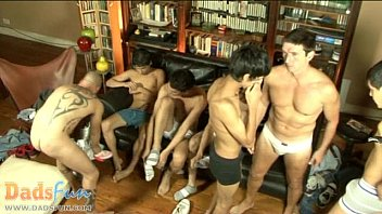 Lusty gay daddies and sonnies swallow tons of meat