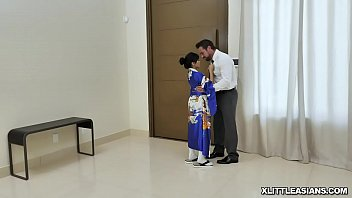 Naughty Asian geisha Ember Snow spreading her legs wide open for her favorite client