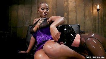 Huge tits ebony torments man in latex tumblr xxx video