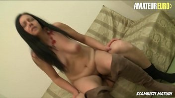 AMATEUR EURO - Italian Brunette Fabiana B. Seduced By Mature Guy