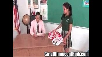 Cute Asian cheerleader fucked and facialized by the school dean