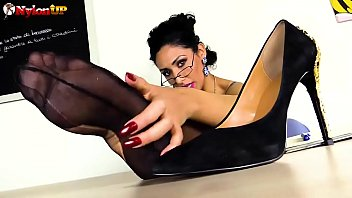 Teacher in Stockings gives you a lesson with a strapon