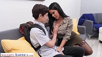 Naughty America Diamond Kitty fucks student to keep his mouth shut