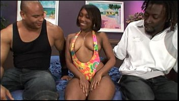 Ebony girl getting two cocks for dp