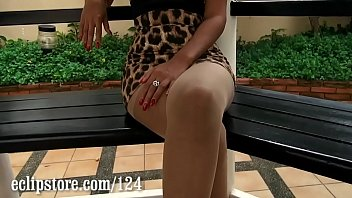 Thai model Xanny does a sexy pantyhose leg tease