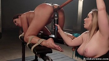 Blonde domme anal fucks tanned lesbian
