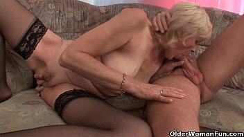 Grandma gets a facial Grandma in stockings gets a facial