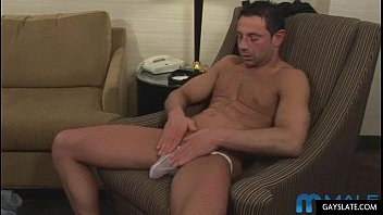 Hot mature muscle guy plays with cock