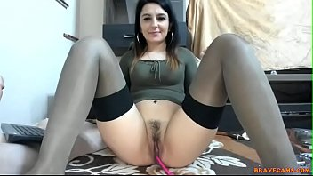 Lingerie and cigarettes Next door girl spreads her legs for fingering her partially shaved pussy