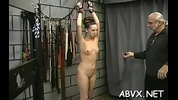 Naked woman screams with guy roughly playing with her vag