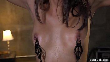 Ebony hottie drooling in brutal bondage