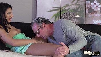 Her feet love the feel of grandpa cock