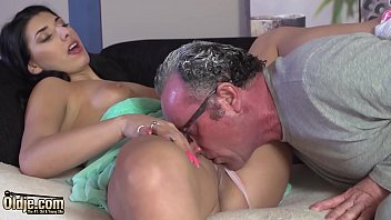 Old nude cum Her feet love the feel of grandpa cock