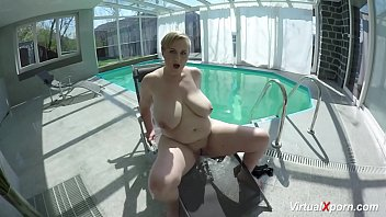 monster boob Milf masturbating at the pool