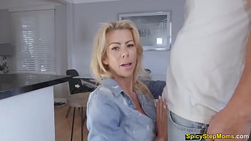 Lucky guy having taboo sex with his busty blonde stepmom