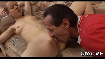 Great sex poses - Tiny titted amateur gets fucked in a lot of poses by old dude