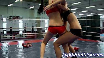 Wrestling lez licks pussy after catfight