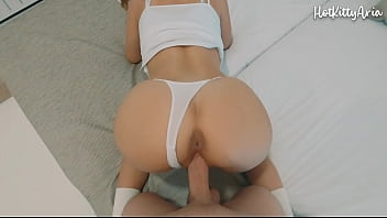 Stepbrother fucks busty blonde and cums inside her while making the bed - Amateur Porn HotKittyAria