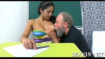 Playgirl is beautiful teacher's cock with zealous blowjob