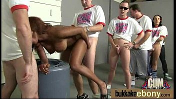 Ebony gets fucked in all holes by a group of white dudes 21