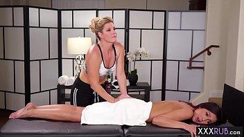 Injured brunette teen massage by a mature professional